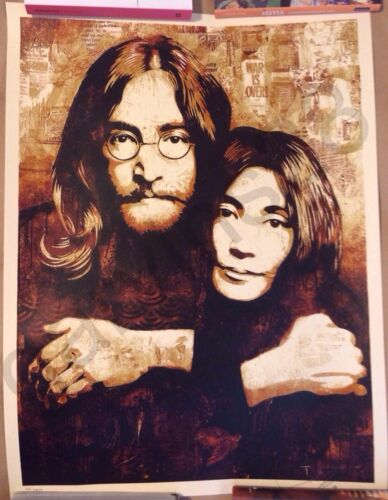 Shepard Fairey OBEY JOHN YOKO LENNON SIGNED NUMBERED PRINT - $895.00
