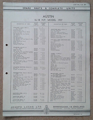 Austin 16/18hp model 1937   Lucas Parts List 291  Others available