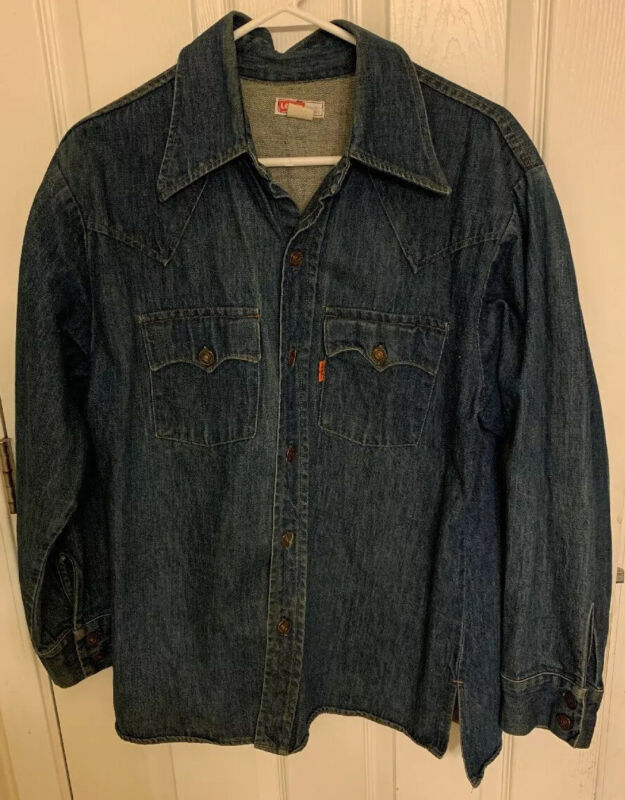 VTG 70s Levis Denim Jean Shirt ORANGE TAB Blue Work Western USA MENS L
