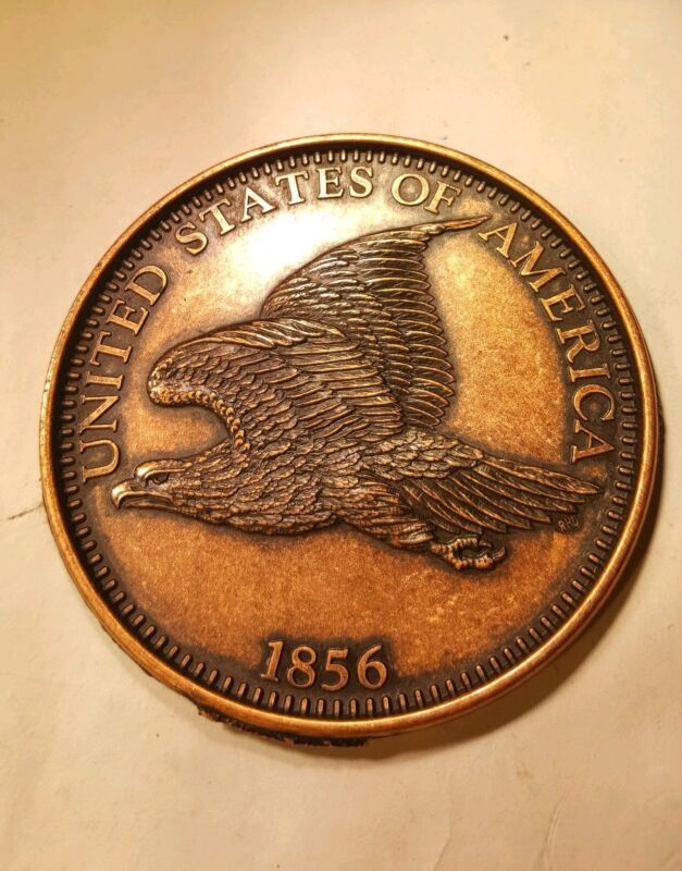 Large 3 Inch Novelty Medal/Coin/Coaster/Paperweight 1856 Flying Eagle Cent Pewte