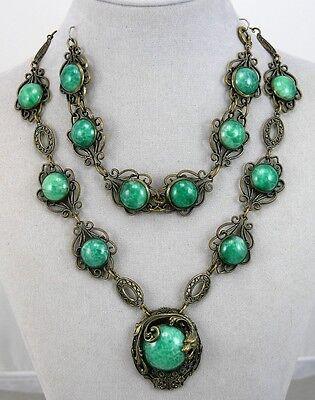 Vtg / Antique Art Deco Czech Dragon Necklace / Bracelet Set: Green Peking Glass