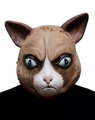 Cattitude Mask Angry Cat Grumpy Fancy Dress Halloween Adult Costume - Angry Mask