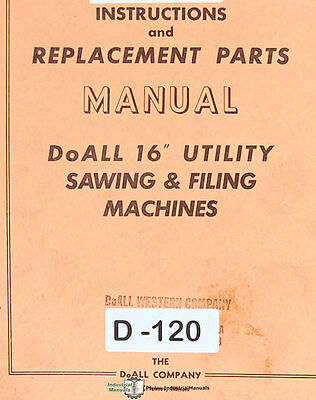 Doall 16 1612-u Sawing And Filing Machine Instructions And Parts Manual 1938
