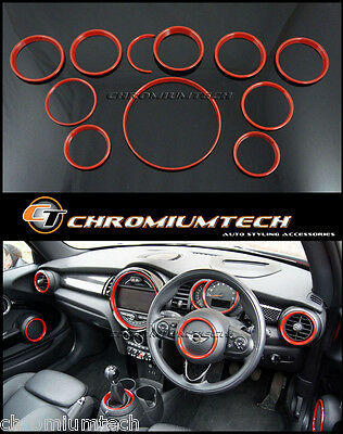 MINI Cooper/S/ONE F55 F56 F57 RED Interior Rings Kit for models w/Navigation XL