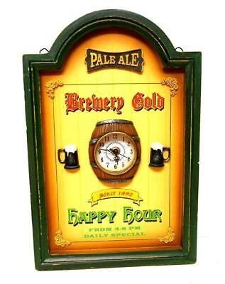 3-D wooden picture PALE ALE Brewery Gold BEER Keg Wall CLOCK, Man Cave Bar 15x10