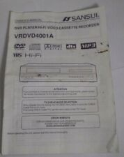 ORIGINAL OWNERS MANUAL for the SANSUI VRDVD4001A DVD VHS