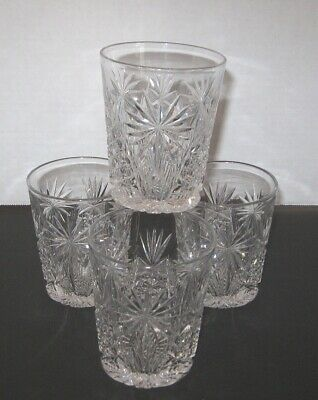 Old Fashioned lot of 4 Unique Cut design top quality set don't miss FREE SHIP!!