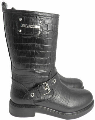 LOVE Moschino - Croc Embossed Boot Harness Leather Mid-calf Boots 37 Booties