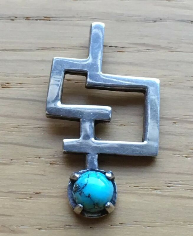 Vintage Sterling and Turquoise Ethnic /  Modernist Pendant Signed