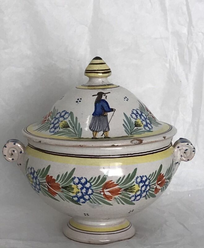 Antique Adolph Porquier Quimper Soupiere, Hand Painted French Faience