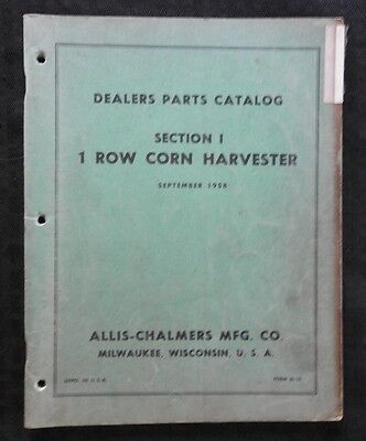 1958 Allis Chalmers C D Wd Tractor 1-row Corn Picker Harvester Parts Manual