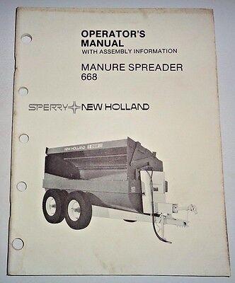 New Holland 668 Slurry Manure Spreader Operators Manual 882 Original Nh