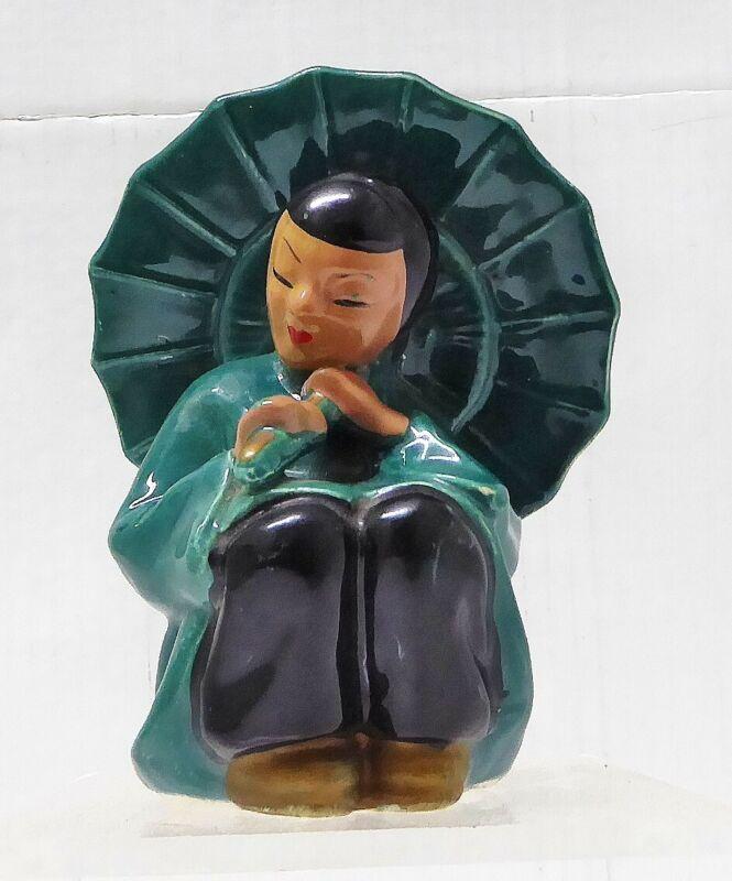 Vintage Asian Girl With Green Umbrella