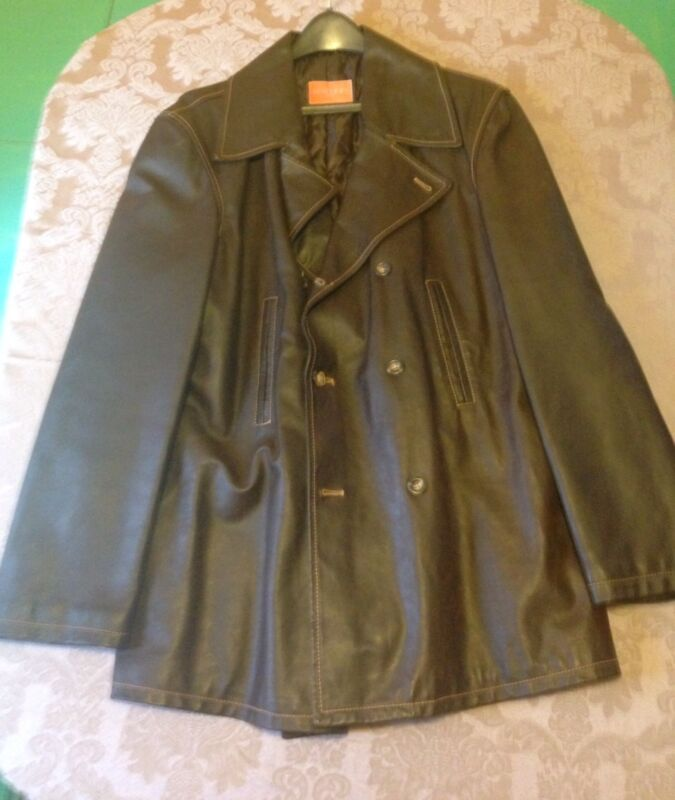 Italian Leather- Brown Dress Jacket Mens Large - Mattioli - Florence Italy-