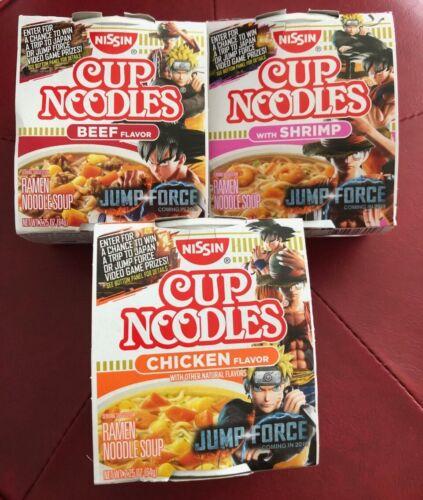 Nissin Cup Noodles Shrimp Flavor Jump Force Game Naruto One Piece DBZ - Complete