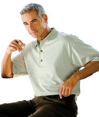 Tri Mountain Mens Three Button Short Sleeve Striped Golf Casual T Shirt  420