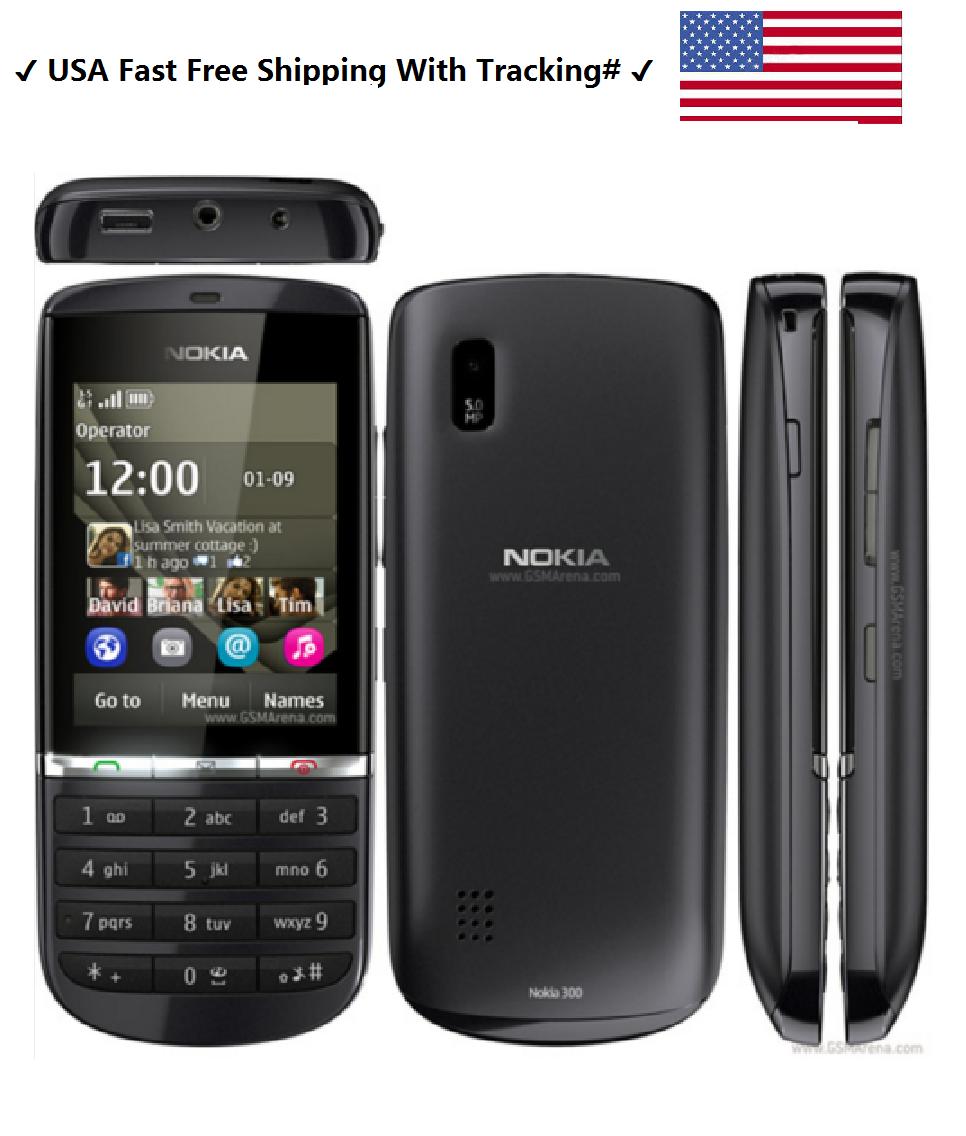 USA Stocks- Nokia Asha 300 Unlocked 3G Touch&Type 5MP Camera Grey Mobile Phone
