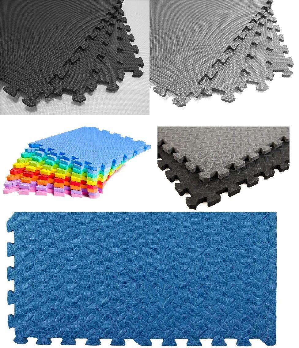 interlocking eva foam mats floor tiles exercise gym kids play mat garage office. Black Bedroom Furniture Sets. Home Design Ideas