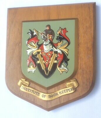 VINTAGE HAND PAINTED HERALDIC WALL PLAQUE SHIELD - INSTITUTE OF BOOK KEEPERS