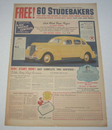 Old Vintage 1938 - STUDEBAKER Auto - Poster-Size Advertisement