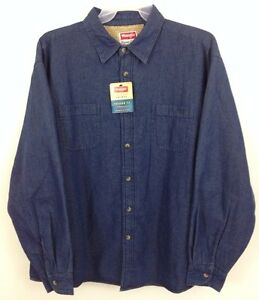 Nwt wrangler flannel sherpa lined work shirt jacket denim blue for Big and tall lined flannel shirts
