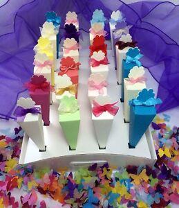 Confetti Cone Tray White Satin Card Up To 24 Cones For Weddings Conetti holder