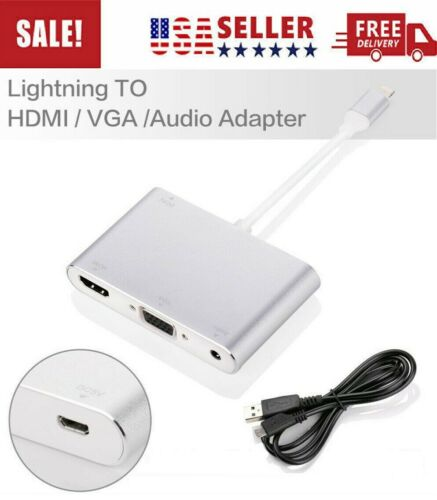3 in 1 Lightning to HDMI VGA Audio 3.5mm Digital AV Adapter for iPhone iPad Pro