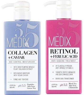Medix 5.5 Retinol Cream and Collagen Cream Set of 2 15 Fl Oz Bottles