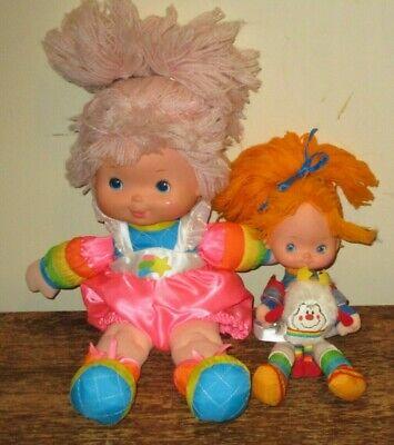 Vintage Hallmark Rainbow Brite Sprite & Baby Brite Tickled Pink Plush Dolls