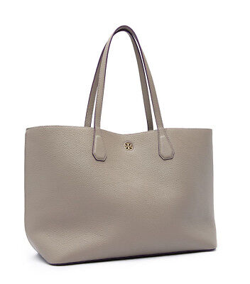 NEW TORY BURCH (41135) PEBBLED LEATHER PERRY TOTE HANDBAG SHOULDER BAG GRAY