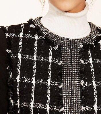 Tory Burch Embellished Tweed Plaid Marisol Blazer Jacket - Black Holiday Stitch