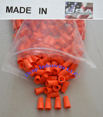 ORANGE WIRE CONNECTOR BARREL STYLE - 1000 PACK - Made in USA UL Listed Fast Ship