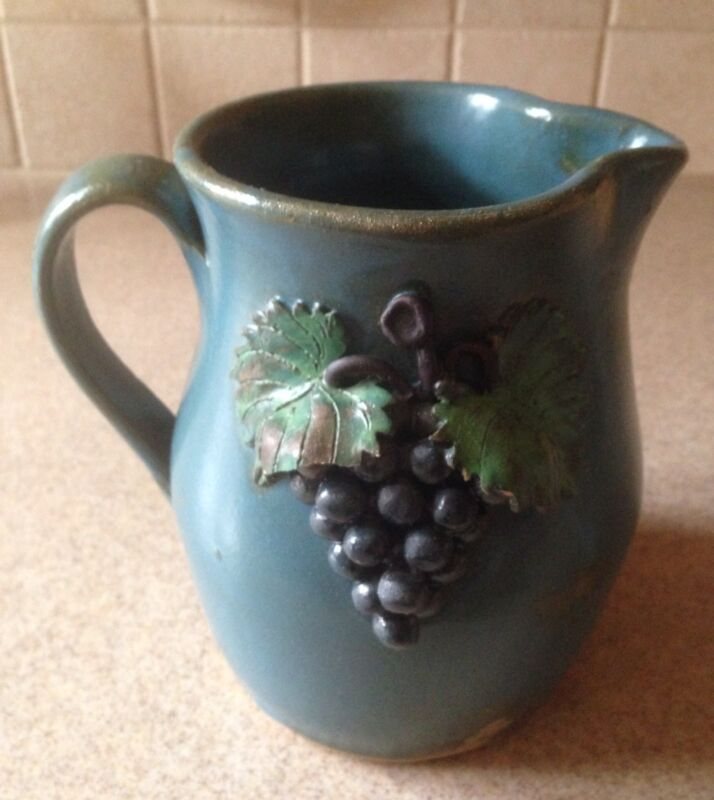 Blue Grapes Pitcher by Georgia Folk Potter Wilford Dean