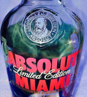 ABSOLUT MIAMI VODKA - LIMITED EDITION 1liter (Empty) BOTTLE - FREE Shipping!