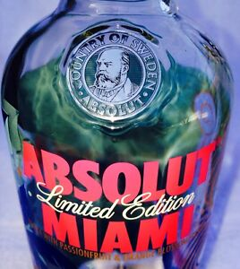 ABSOLUT MIAMI Limited Edition Bottle W/Original Portrait (Empty) Free Shipping!