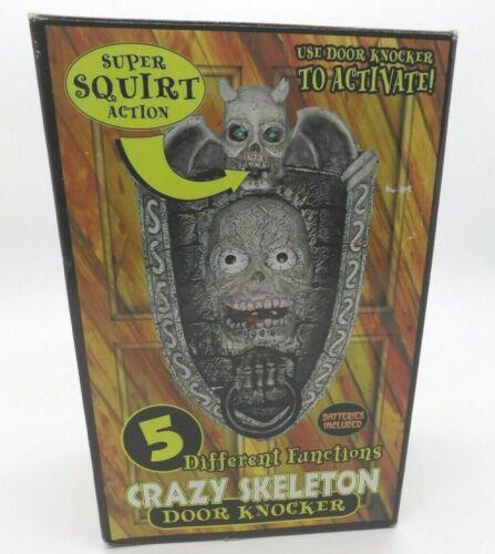 Halloween Decoration Crazy Skeleton Door Knocker Talking Squirting Glowing Eyes