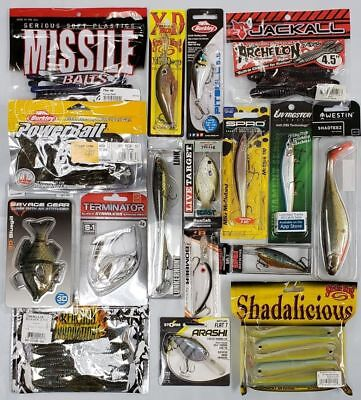 NEW Fishing Tackle Assortment Grab Box $50. Variety Lures, Soft Plastics, Hooks