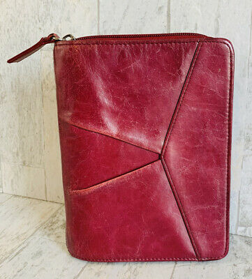 Franklin Covey Unstructured Compact Binder Full-grain Leather Zip Around Maroon