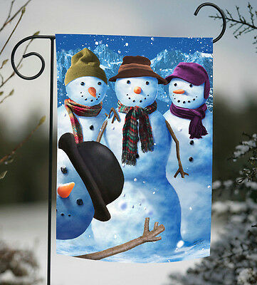 Toland Snowman Photobomb 12.5 x 18 Winter Funny Family Photo Garden Flag