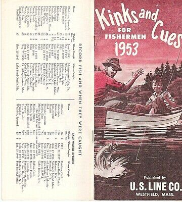 RARE 1953 KINKS AND CUES FOR FISHERMEN US LINE CO BROCHURE RETRO ILLUSTRATIONS for sale  Shipping to India