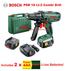 bosch 18v li ion combi hammer drill inc 2x batteries psb18li 2 psb 18 li 2 new ebay. Black Bedroom Furniture Sets. Home Design Ideas