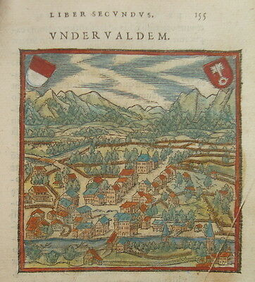 Unterwalden  Schweiz seltener wunderschön kolorierter Holzschnitt ca. 1580