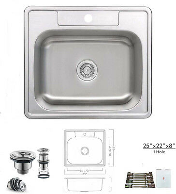 Single Hole Mount Kitchen (Top Mount Drop In Stainless Steel Single Bowl Kitchen Sink 25