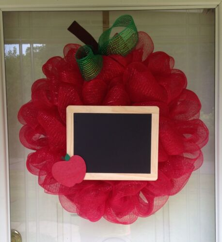 Large Apple Chalkboard Teacher Appreciation Deco Mesh Ribbon Wreath