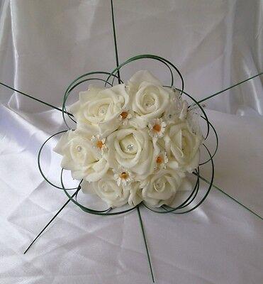 ARTIFICIAL IVORY DAISY FOAM ROSE WEDDING FLOWER GIRL BOUQUET WAND FLOWERS - Daisy Bouquet Wand
