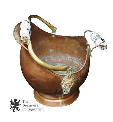 Large Vintage Antique Copper Brass Flow Blue Porcelain Handled Coal Ash Shuttle