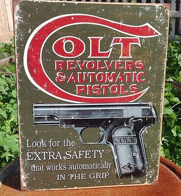COLT REVOLVERS AUTO PISTOLS Gun Classic Tin Sign Wall Bar Decor Garage Classic