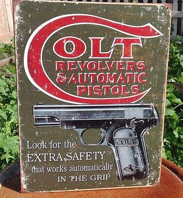 COLT REVOLVERS AUTO PISTOLS Gun Classic Tin Sign Wall Bar Decor Garage Classic