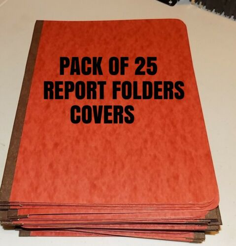 Lot of 25 Pressboard REPORT FOLDER COVER BINDERS Red/Brown home school Office