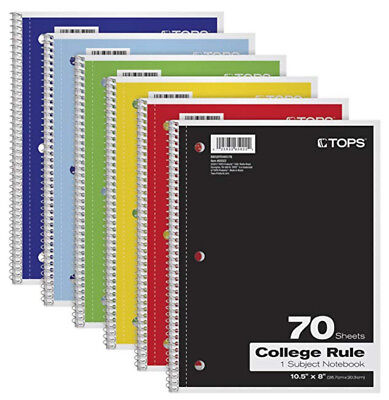 Tops 1-subject College-ruled Spiral Notebooks Various Colors 6 Pack Ships Free